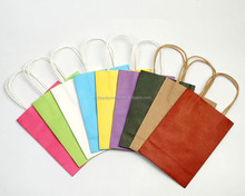 Restaurant paper bag ,take away kraft paper bag and colorful printing twist handle kraft paper bag