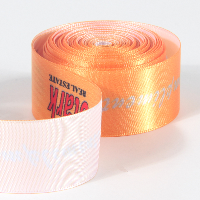 Single face customized print logo wide satin ribbon with 38mm width