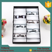 16 pieces sunglasses display cases tray stand holder black color manufacturer in china