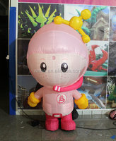 pink color customized lovely inflatable cartoon girl figure model realistic girl figure