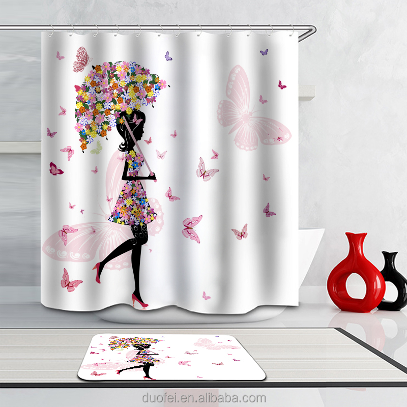 Home Goods Wholesale Custom Butterfly Girl Commode Shower Curtain