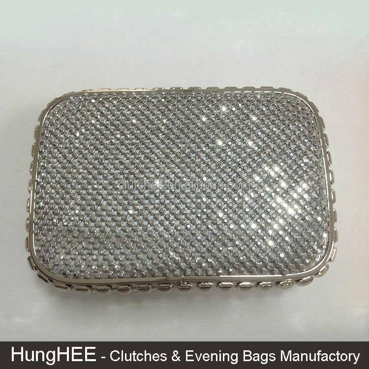 Silver Metal Frame White Crystal Mesh Rhinestone Evening Bags Purses
