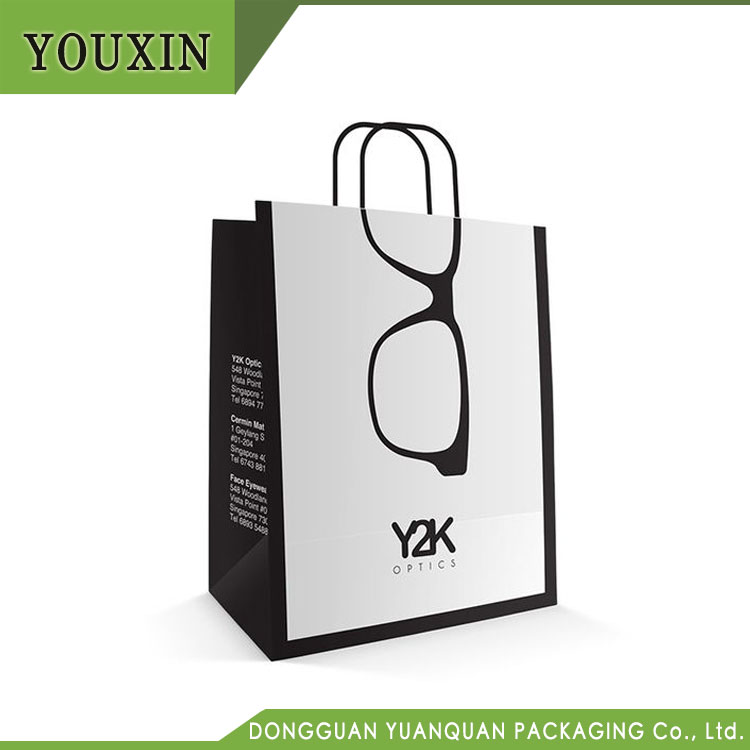 Factory Wholesale Recycled Optical Shopping White Custom Printed Paper Carrier Bag with Logo