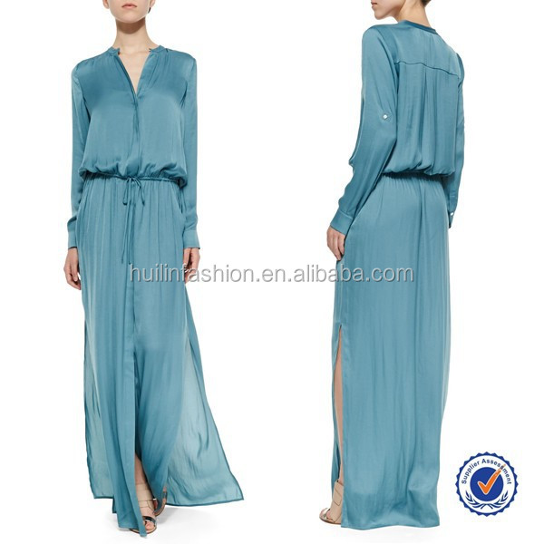 Sexy Satin Dress Long Gown Long-Sleeve Drawstring Maxi Dress,Mature Silk Satin Dress Styles Sex