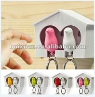 alibaba express Sparrow Key Ring twin bird cage shaped Key Chain with Whistle sparrow Pendant phone strap