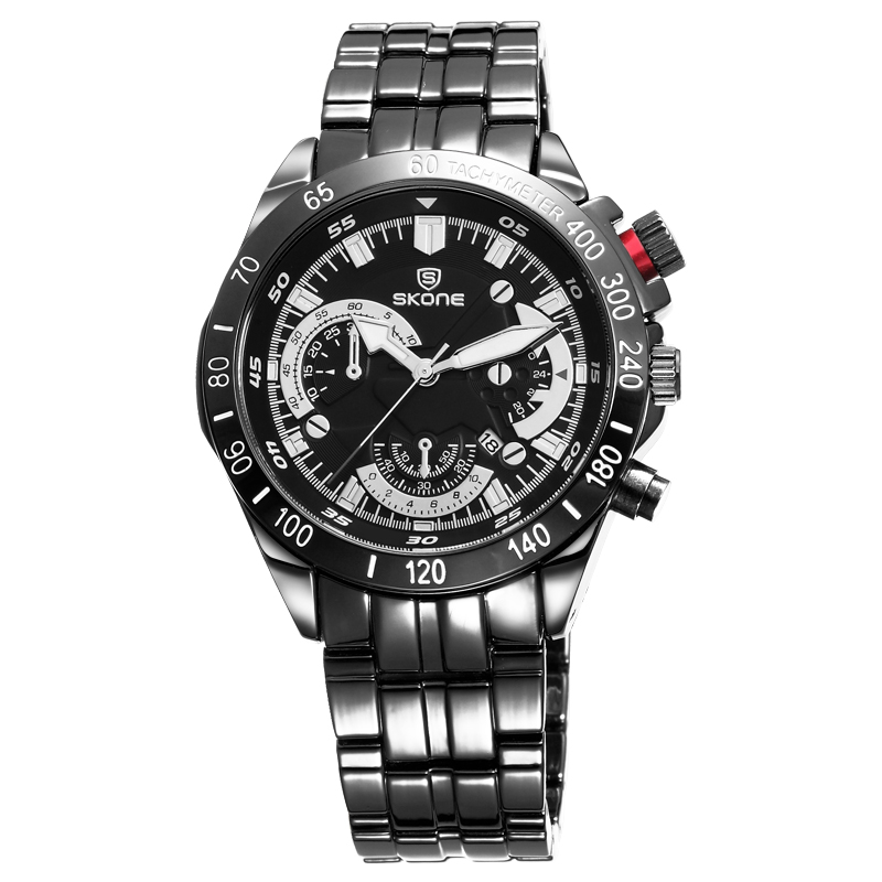 black stainless steel sports skone watch relojes for men
