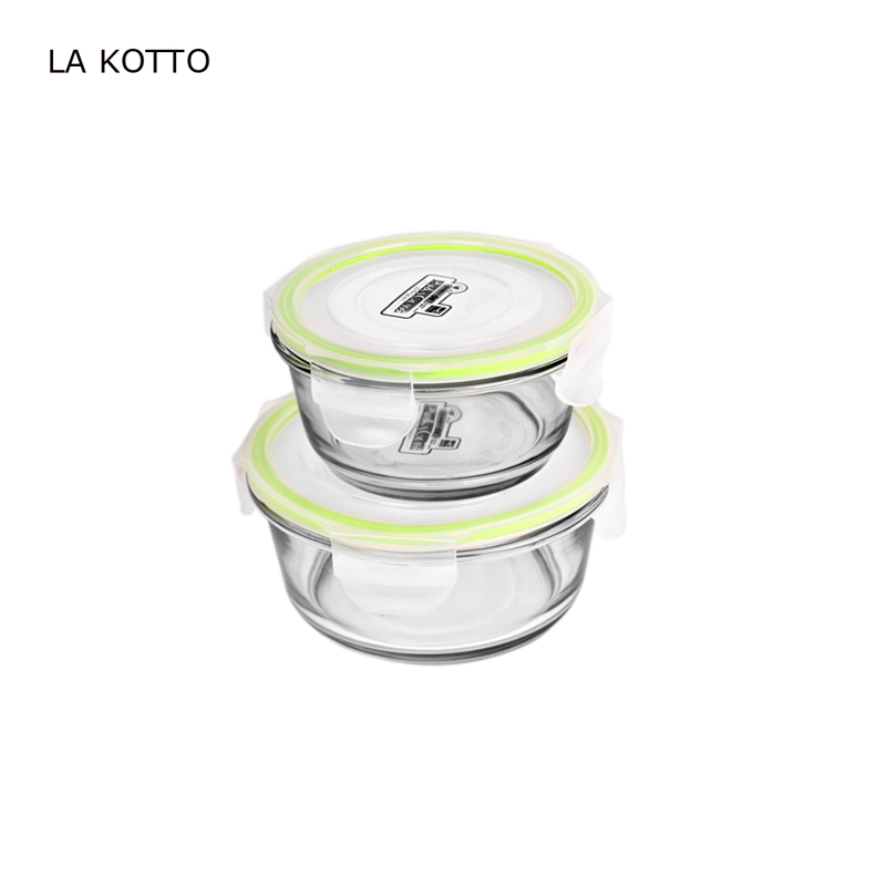 Heat resistant clear round borosilicate glass bowl with lid, glass bowl oven safe glass food container w/PP lid
