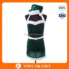 Women Girls Sexy Cute Green Santa Claus Costume For Chrismas, High Quality Women Sexy Santa Costume