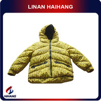 China supplier yellow puffy hooded goose feather jacket