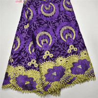 Latest Purple African Ankara Lace Fabric,African Super Wax wth Guipure Lace for Nigerian Dresses (WL020)