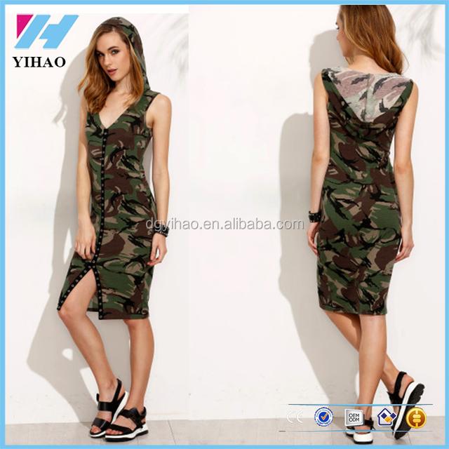 latest design women fashion dresses camouflage v neck hooded sleeveless sheath dress