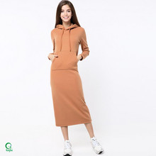 D669 China Wholesale Women's Winter Pullover Dress with Hood