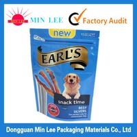 three side sealed aluminium foil pet food bag with top resealable zipper