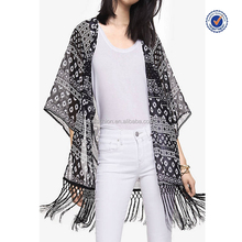 High fashion summer printed fringe kimono cardigan