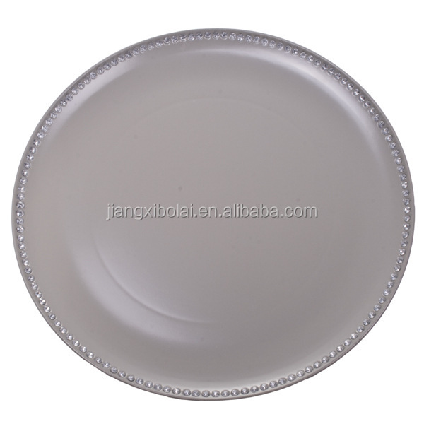 plastic charger plates grey Bolai Brand