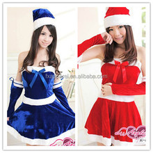 Red/blue asian christmas costume holiday santa costume wear