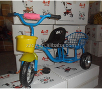 2014 hot design kids double seat tricycle/tricycle kids trailer/child tricycle with plastic basket