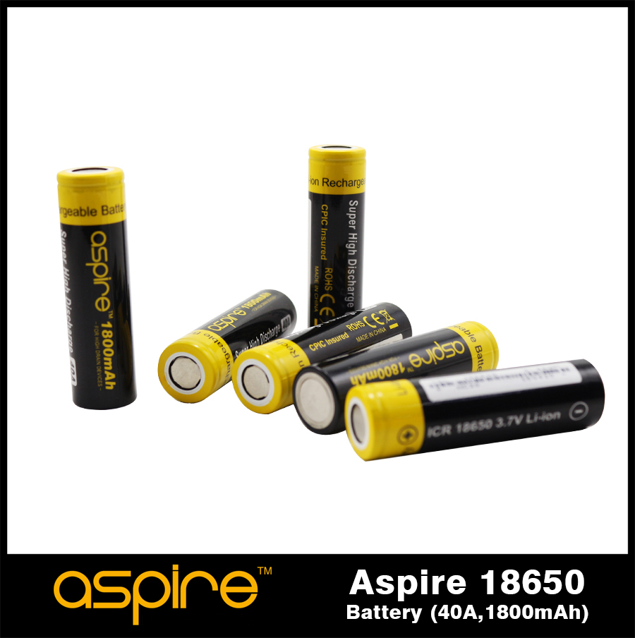Aspire battery 40A 1800maH rechargeable Li-ion 18650 battery wholesale