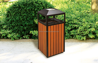 Timber Look Painted Iron Recycling Outdoor Dustbin with Cigarette Bin