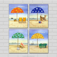 cartoon seassand pictures home goods wall art seascape canvas oil group painting for kids bedroom giclee print 4 panels art