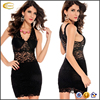 Ecoach wholesale women Hollowed Out black Lace V Collar Slim Dress Sexy see-through short lace dress women lace dress