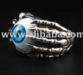 GOTHIC BLUE EYE STONE STERLING SILVER EYEBALL RING JEWELRY