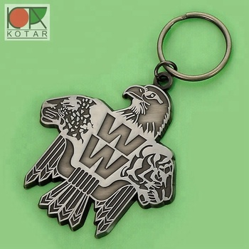 custom promotional antique nickel plating eagle keychain