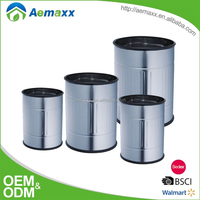 Open top waste bin office paper waste basket stainless steel metal trash can for indoor place