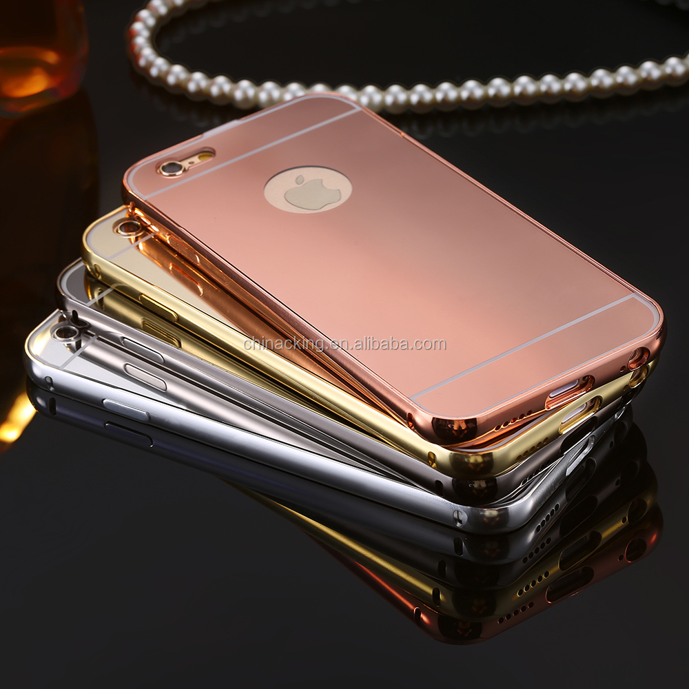 Shiny Mirror Case for Apple iPhone 6 6s 4.7 Hard Plating Metal Aluminum Back Cover Hybrid Ultra Thin Cover With Logo Hole