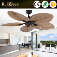 Wholesale Natural Style Fancy Palm Leaf Blade Decorative Ceiling Fan With Light