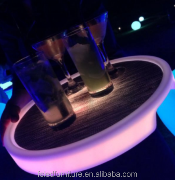 PE material waterproof bar Led Tray, led shot plastic serving tray round for nightclub