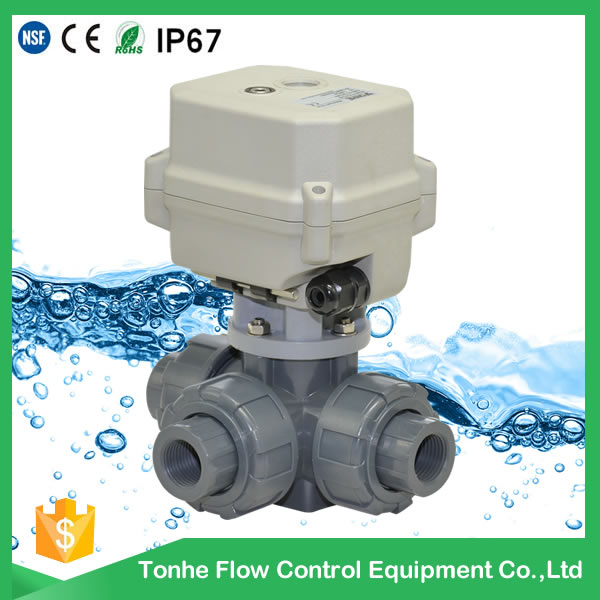A150-T20-P3-B DN20 CR5 01 3 way UPVC motorized ball valve with feedback wire
