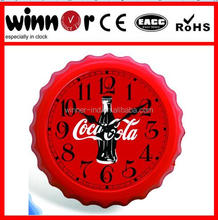 "12""plastic cola pattern beer cap shape decorative wall clock,time clock"