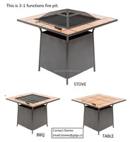 Outdoor Garden Tile Top Table Fire pit