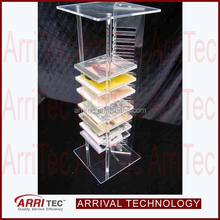 column standing tower shape clear acrylic plastic plexiglass storage DVD CD display rack