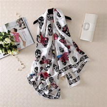 Yiwu Hot Fashion Elegant Black White Skull Head New Fancy Spring Summer Long Chinese Silk Scarf