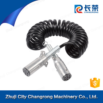 tractor trailer cable truck 7 core spring spiral coiled electric cable for tractor & trailer