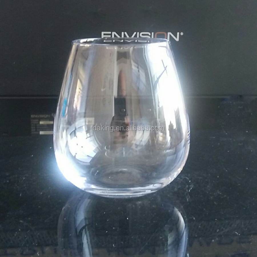 hand- blown crystal smooth rim stemless wine glasses eggcup