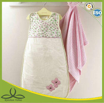 Colorized montage summer use baby embroidery sleeping bag without sleeves