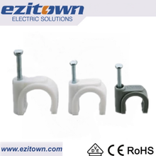 PE IEC698 material galvanized Steel Coaxial cable clips cable clamps white or grey