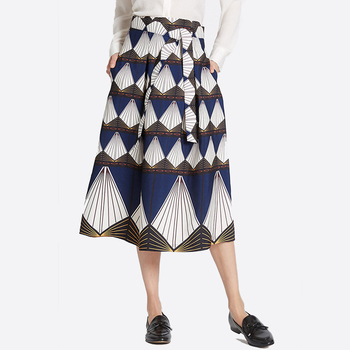 New Model Printed Midi A-line Up Wholesale Lure Office Skirts Designs