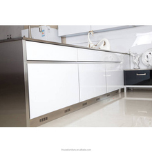 Fantastic High Gloss White Tempered Glass Luxury Kitchen Cabinet Furniture/Excellent Kitchen Cabinets/Kitchen Cabinet Glass