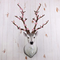 Resin Flower Wall Deer Animal Heads For Home Decoration