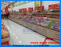 wooden supermarket bulk foods display shelf equipment furniture