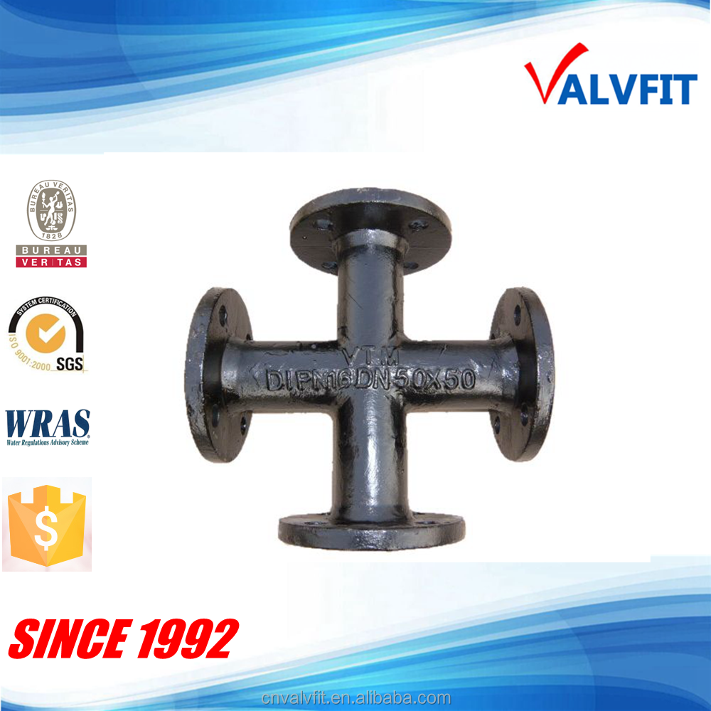 Ductile iron all flanged cross pipe fitting