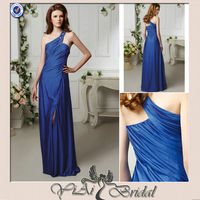 CK0043 New Fashion One Shoulder Beaded Royal Blue Sweetheart Chiffon Long Evening Dress 2014