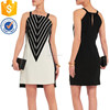 Wholesale women sleeveless suede-trimmed mesh and crepe dress slim fitting design for ladies