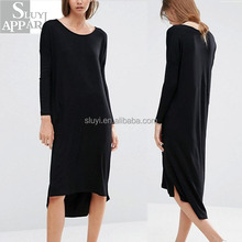 Long sleeves women dresses stretch knitted fabric ribbed finish round neck high low hem long black casual dress for women