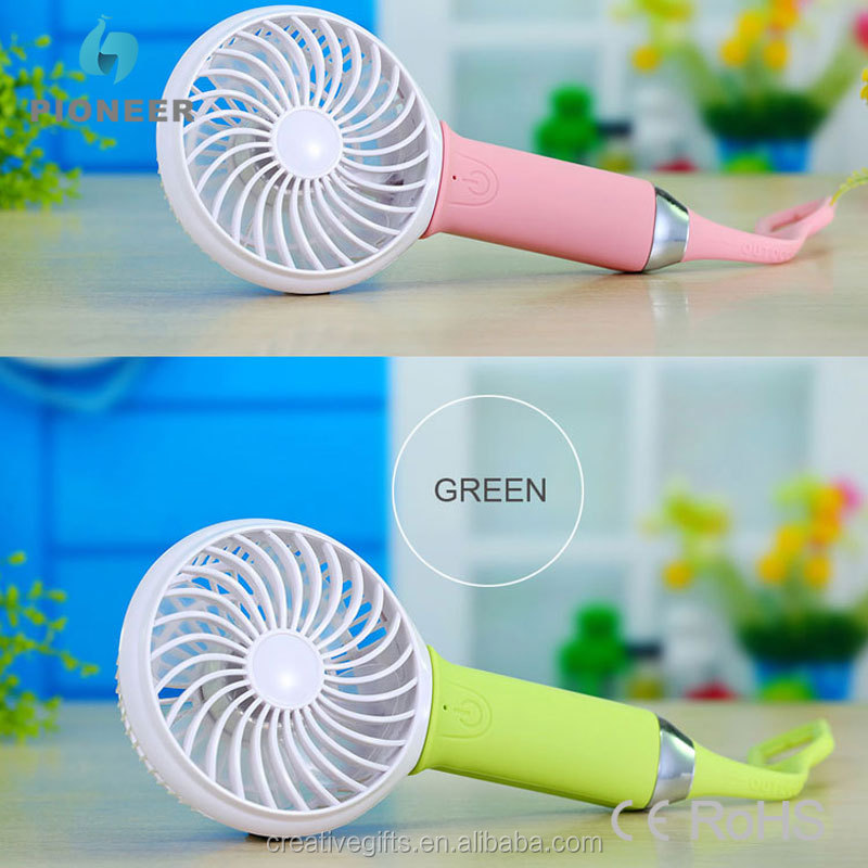 rechargeable mini handheld fan battery USB with LED light