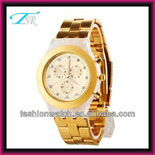 Fashion alloy watch with stones on case and dial